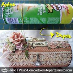 Reciclar lata de batata http://topartesanato.com/reciclar-lata-de-batata/  #artesanato #reciclagem