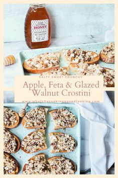 Apple, Feta, and Glazed Walnut Crostini is the perfect easy appetizer. No cookin. Apple, Feta, and Glazed Walnut Crostini is the perfect easy appetizer. No cooking involved! Just br Make Ahead Appetizers, Appetizers For Party, Dip Recipes, Light Recipes, Fall Recipes, Appetizer Recipes, Grilling Recipes, Glazed Walnuts, Real Cooking