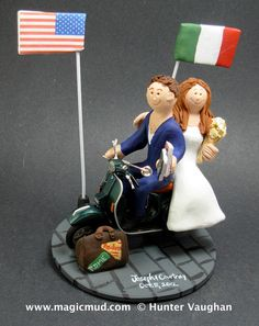 Italian Groom on a Vespa Scooter Wedding Cake Topper, Vespa Wedding Anniversary Gift, Bride and Groom on Vespa Scooter Wedding Cake Topper custom created for you! Perfect for the marriage of a Vespa scooter riding Groom and his Bride! The photographs in this listing are but an example of what we will create for you....simply email or call toll free with your own info and pictures of yourselves, and we will sculpt for you a treasured memory from your wedding! call 1 800 231 9814 Handmade to…