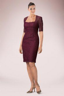 Imposing Burgundy Knee-length Sheath Lace Mother of Bride Dress Featuring Square Neckline and 1/2 Sleeves   Bridalpure.com