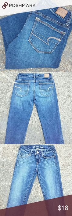 American Eagle Super Stretch Skinny Kick Jeans AE super stretch skinny kick jeans. Slim boot fit. Perfect condition.  Size 0 long ( 35 inseam) American Eagle Outfitters Jeans Boot Cut