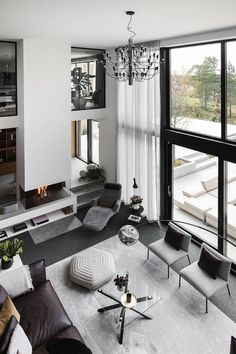 A Luxurious Open Plan Villa in Sweden - The Nordroom Modern Home Interior Design, Dream Home Design, Interior Architecture, Contemporary Living Room Designs, Best Modern House Design, Contemporary Homes, Futuristic Architecture, Contemporary Furniture, Home Living Room