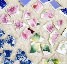 china crafts Learn to cut china for mosaics. Well show you how to turn thrift store china into mosaic tiles using wheel cutters and tile nippers. Mosaic Garden Art, Mosaic Pots, Mosaic Glass, Mosaic Tiles, Stained Glass, Glass Art, Tiling, Fused Glass, Broken China Crafts