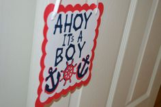 Anchor Ahoy Its A Boy Sign Nautical Birthday