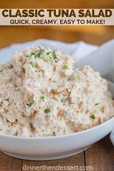 Classic Chicken Salad is the PERFECT combo of seasoned chicken breast, creamy ma. - Classic Chicken Salad is the PERFECT combo of seasoned chicken breast, creamy mayonnaise, lemon jui - Easy Salad Recipes, Chicken Salad Recipes, Dinner Recipes, Healthy Recipes, Salad Chicken, Easy Chicken Salad Recipe, Easy Tuna Salad, Healthy Tuna Salad, Simple Chicken Salad