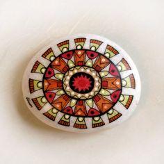 handpainted stone / sun mandala hand painted-stones by artist fusun aydinlik