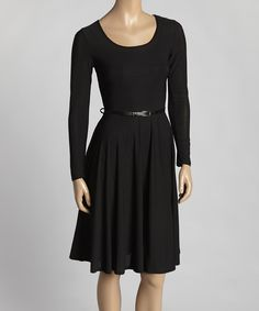 This Black Belted Fit & Flare Dress by Avital is perfect! #zulilyfinds
