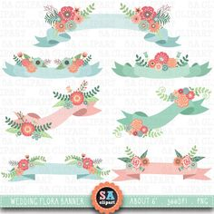 Wedding Banner Clipart WEDDING FLORAL BANNER clip art by SAClipArt