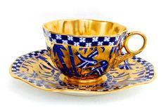 Taza y Plato para Te, Pocelana Inglesa Coalport, Decoracion Oro y Azul Cobalto.