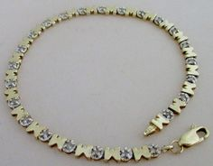 "10K Yellow Gold ""MOM"" Diamond Tennis Bracelet"