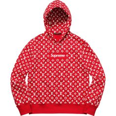 Supreme Louis Vuitton/Supreme Box Logo Hooded Sweatshirt ❤ liked on Polyvore featuring tops, hoodies, logo hoodies, red hoodies, red hoodie, hoodie top and louis vuitton hoodies