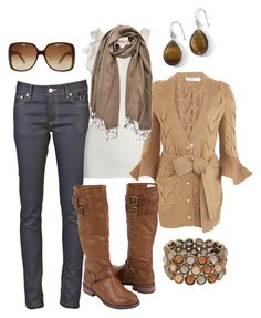 """""""browns"""" by htotheb ❤ liked on Polyvore featuring Gucci, Pudel, Juicy Couture, Sacai, PASHMINA ART, Forever 21, skinny jeans, knee high boots, tan and brown"""