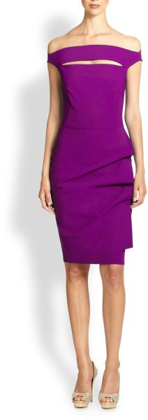 La Petite Robe Di Chiara Boni Off-The-Shoulder Stretch Jersey Dress in Purple (cyclamen)