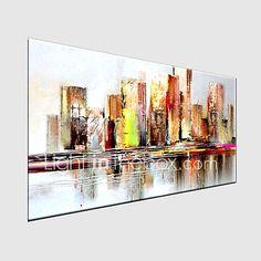 Pintada a mano Abstracto Pinturas de óleo,Modern Un Panel Lienzos Pintura al óleo pintada a colgar For Decoración hogareña 2017 - $1419.21