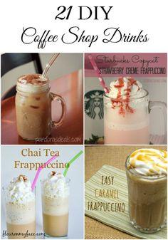 21 DIY Coffee Shop Drinks you can make at home via flouronmyface.com
