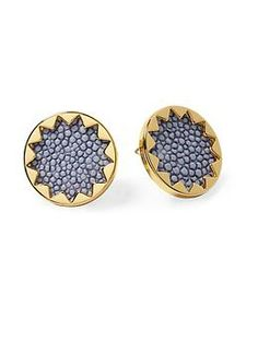 House of Harlow 1960 Sunburst Button Earring | Piperlime- Fun shapes with textured backing- new button earring?