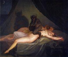 "Nicolai Abraham Abildgaard (1743-1809), ""Nightmare"" (1800) after Johann Heinrich Füssli's ""Nightmare""  Oil on canvas  Sorø, Vestjaellands Art Museum"