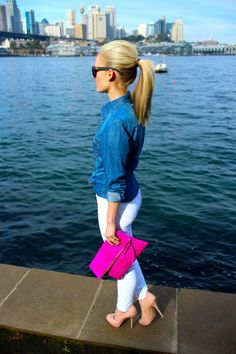 White jeans, denim shirt, ponytail. Love this look!