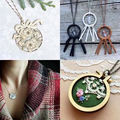 """Etsy Shop: Sewn By The Beach on Instagram: """"Happy Follow Friday! I'm back with four more amazing artists. From adorable color-in ornaments, to gorgeous handmade dream catcher necklaces, to dainty unique silver jewelry and lovely hand embroidery featuring vintage lace, there's so many gift ideas here and all the heart eyes! Go give these beautiful feeds a like and a follow! """""""