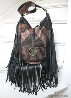 47b2dfc058 African style brown   black bag leather raw edges purse bohemian fringed  fringe tote large asymmetrical distressed strap tribal free people