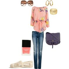 #Polyvore #Fashion #Outfit #Clothes #Style #Cute #Sunglasses #Earrings #Handbag #Nail_Polish #Shoes #Top #Jeans