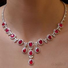 Ruby diamond necklace. The color of the rubies is exquisite.  Gorgeous!