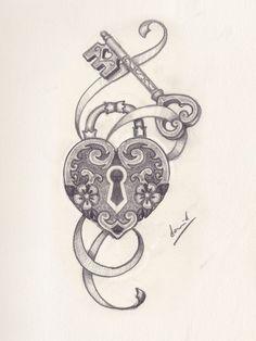 Skull Tattoos, Body Art Tattoos, Sleeve Tattoos, Key Drawings, Pencil Art Drawings, Compass Tattoo, Tattoo Sketches, Tattoo Drawings, Lock Key Tattoos