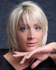Fashion Model in Good Hot Modern Short Haircut with Razor Finish