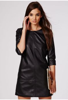 Make sure you are ready to rock this season in this grungy faux leather shift dress with 3/4 length sleeves. This smooth shape piece with multiple panels is easy to wear with stacks of accessories for a night on the town, or layer it up wit...