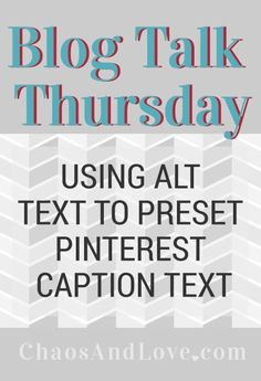 Video tutorial for adding alt text to blog post images. This text is what Pinterest pulls in as default text from their Pin It bookmarklet.