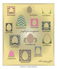 DIGITAL DOWNLOAD ... Vinyl Easter basket monograms in AI, EPS, GSD, & SVG formats @ My Vinyl Designer #eastermonograms