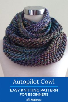 This easy knit cowl pattern is perfect for mindless knitting. Easy enough for beginners, too. Give it a try.