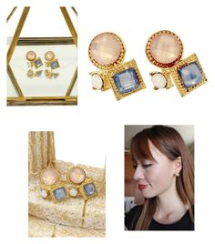 """Fashion golden rim crystal ball pink earrigs"" by oceanfashion on Polyvore"