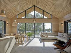 Modern Cabin Interior, Modern Barn House, Barn House Plans, Minimalist Home Interior, Timber House, Modern House Design, House Floor Plans, Scandinavian Cabin, House Inside