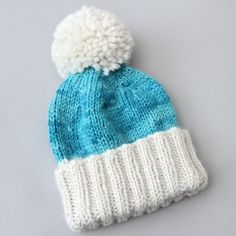 Turquoise chunky alpaca hat knitting project by Suzie B