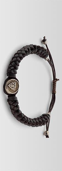 GUCCI (dark brown leather and sterling silver with palladium aging finish) #Bracelet