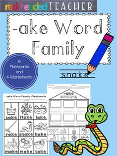 This packet is 5 pages for the -ake Word Family;*Flashcards for students to take home, color, and practice reading*Beginning sounds*Alphabetical Order*Word Family Identification (cut and paste)*Word Family Identification (coloring)