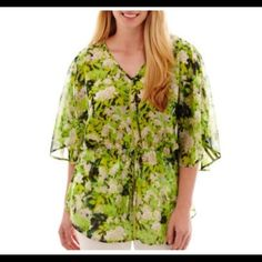 Plus Sheer Flutter Sleeve Floral Top 2X I have two   Both 2X.  Comfy peplum styled top.  Runs bug. This 2X can fit up to 3X a.n.a Tops Blouses