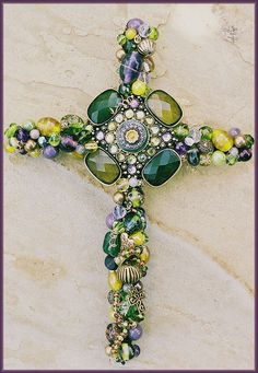 "8"" Beaded Wire Wall Cross_PlumOlive  focal is recycled costume jewelry"
