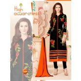 Diagram Glossy Black Color Embroidered Straight Cut Salwar Suit