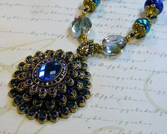 Royal Peacock-dyed opal pearls crystals gold beads