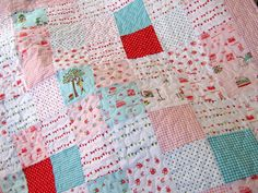 Pink Baby Girl Quilt Embroidered Sugar And Spice