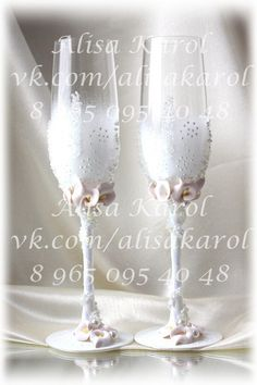 Callas wedding glasses hand made white/ivory by AlisaKarol on Etsy, $65.00