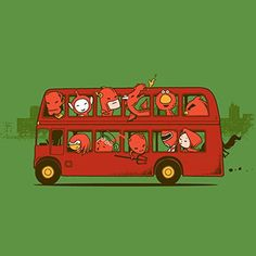 'Red Trip In London' Funny Red Character Parody in Double Decker Bus - Vinyl Sticker