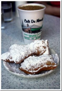 New Orleans: Cafe Du Monde = Beignets + Chicory Coffee Haitian Food Recipes, Cuban Recipes, Donut Recipes, New Orleans Vacation, New Orleans Travel, New Orleans Recipes, Louisiana Recipes, New Orleans Louisiana, Chocolate Recipes