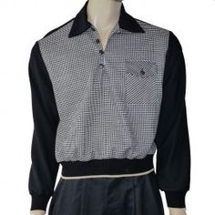La Riviera 1950's Style Gaucho Two Tone Pullover Shirt - Black with Black & White Dogtooth contrast