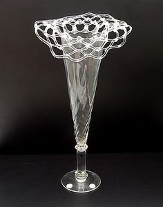 Clear glass vase with open-worked topside in which white-glass accents design Bořek Šípek ca.1995 executed for Driade by Ajeto / Czech Republic in a Limited Edition of 100