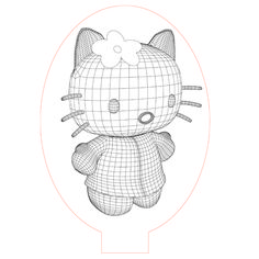 Hello kitty 3d illusion led lamp vector file for CNC - 3bee-studio