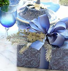 True blue and lovely gift wrapping
