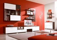 Red living room interior design: modern red scheme living room design with white brown color wall and entertainment units Living Room Red, Simple Living Room, Living Room Color Schemes, Living Room Paint, Interior Design Living Room, Living Room Designs, Living Room Decor, Modern Living, Small Living